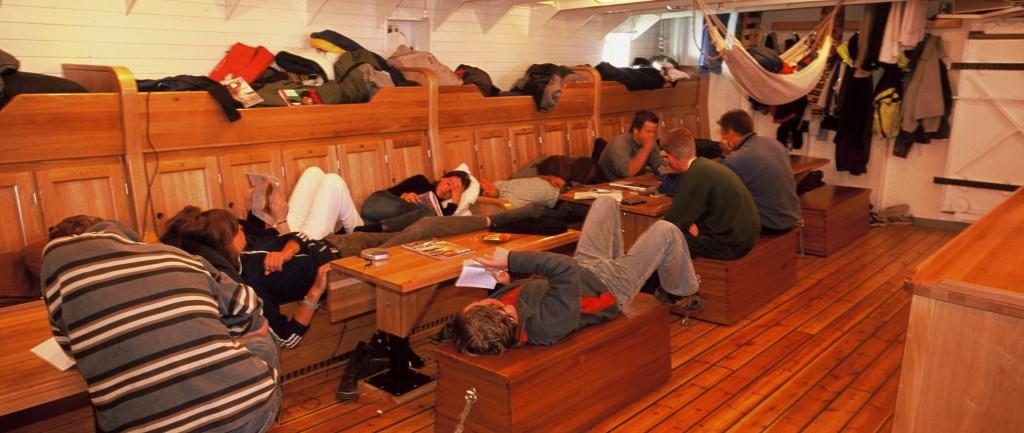 Christian Radich trainees below deck