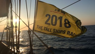 Tall Ships Races 2018 flag on board the Wylde Swan Tall Ship