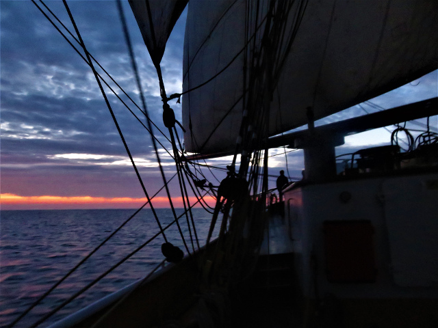Picture or a sunset on board the Tall Ship Morgenster