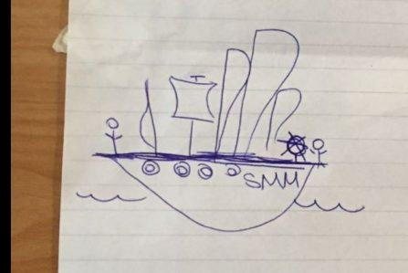 Trainee drawing of a Tall Ship Santa Maria Manuela
