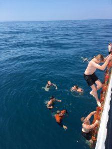 Trainees of Santa Maria Manuela swimming in the sea
