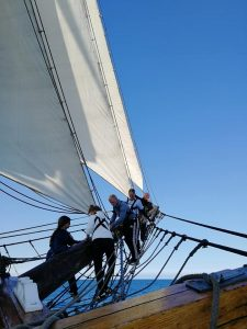 Vega Gamleby trainees learn to climb on the bowsprit