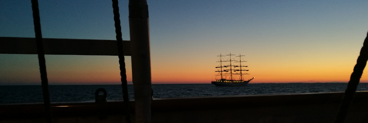 Tall Ships Races sailing Tall Ship at sunset